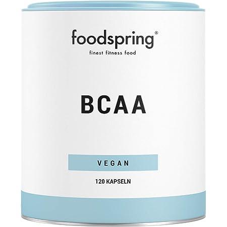 foodspring Cápsulas de BCAA, 120 cápsulas, BCAA de origen vegetal de alta calidad, aminoácidos esenciales para los músculos
