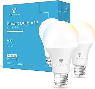 Focos LED blancos Alexa inteligentes, WiFi, regulable, luz blanca cálida de 2,700 K a 6,500 K, 800 lúmenes, 9 W (equivalen...