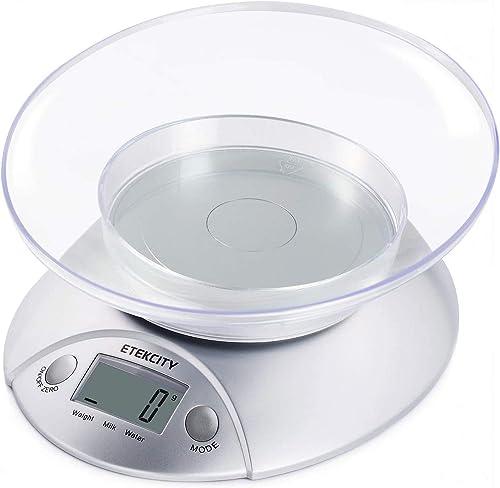 Etekcity Balance de Cuisine Electronique Multifonctionnelle 5 kg/1g, Bol Amovible, Grand Ecran Rétroéclairé LCD, Pesé...