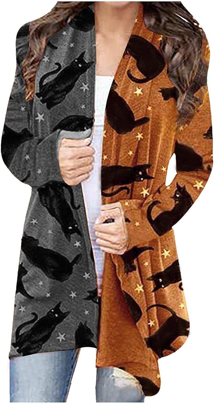 Women Halloween Cardigan Long Sleeve Shrugs Open Front Casual Lightweight Soft Outerwear Cute Black Cat Print Graphic Coat