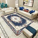 Alfombras Habitacion Juvenil azul Alfombra de salón alfombra de mesa suave con estampado floral vintage azul oscuro duradera Alfombra Infantil Pequeña El 120X180CM Alfombras De Exterior Terraza 3ft 11