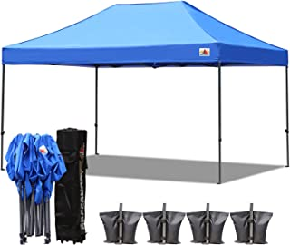 ABCCANOPY 10x15 Pop up Tent Instant Canopy Commercial Outdoor Canopy with Wheeled Carry Bag Bonus 4X Weight Bag (Blue)