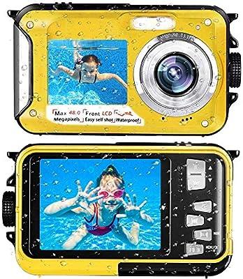 Waterproof Camera Underwater Camera Full HD 2.7K 48 MP Camera Selfie Dual Screens Point and Shoot Camera Selfie Dual Screen Waterproof Camera for Snorkeling by Kansing