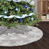 Deggodech Falda de árbol de Navidad de Felpa Falda para árbol de Navidad con Blanco Copos de Nieve Cubierta de la Base de Falda del árbol de Navidad Decoración de Fiesta (Gris, 122CM)