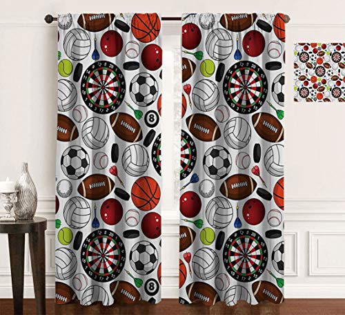 """Teatrail Amazing Sports Decor Print Casual Kitchen Curtains, Pattern with Billiards Balls Hockey Pucks Darts Arrows and Target Boards Image Eclipse Blackout Curtains for Bedroom, 2Pcs Each 60"""" Wx84 L"""