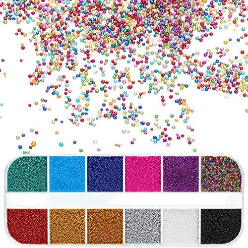 12 Grids Nagel Micro Pixie Perlen Mehrfarbig Winzig Glass Strass Elf Micro Caviar Kristallperlen für Nagel Kunst DIY Verschönerung Dekorationen