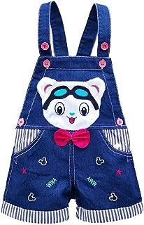 Kidscool Baby Summer Cotton Denim 3D Cartoon Bear Soft Shorts Overalls,Blue,18-24 Months