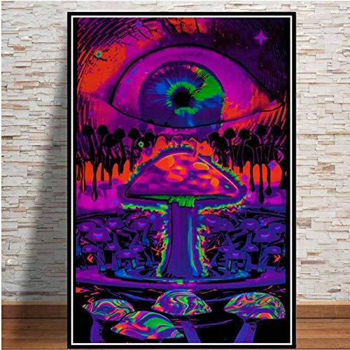 LLXHGAbstrakte Schwarzlichtbilder Kunst Psychedelic Trippy Poster Drucke Moderne Wand Leinwand Wandbilder Für Wohnzimmer Wohnkultur B-50X70Cm Kein Rahmen