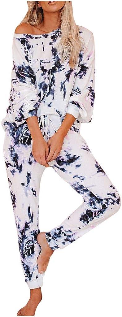 Hessimy Womens Pajama Sets,Womens Long Sleeve Tie Dye Long Pajamas Set Loose Sleepwear Sweatsuit Night Shirts with Pockets
