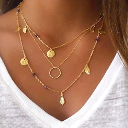 Lumanuby 1x Multicapa Collar de Borlas Colgante Collar Mujer Collar Mujer Oro Collar Cadena Ajustable Joyería Regalo