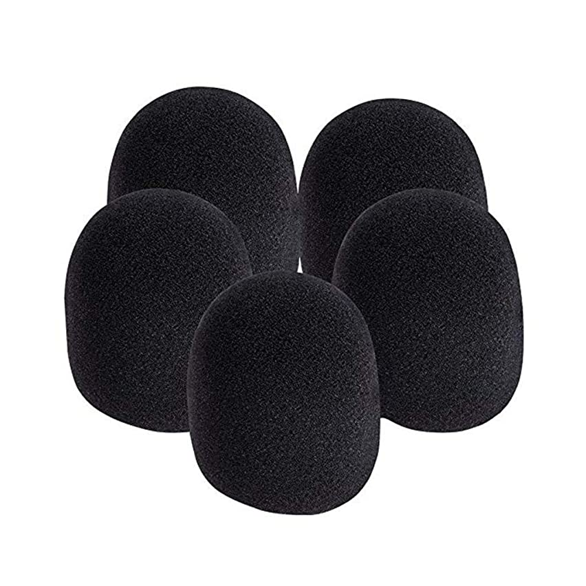 SUJING 5pcs Foam Ball-Type Mic Anti Saliva Windscreen for Microphones, Black