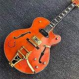 Florwesr Nouvelle Arrivée Jazz Guitare Électrique WithGolden Matériel d'orange Semi Hollow Body Jazz Guitar (Size : 40 inches)