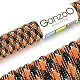 Ganzoo - Cuerda de supervivencia de uso universal de paracaídas de paracaídas de 550 kg, longitud total: 15 m, color naranja y negro