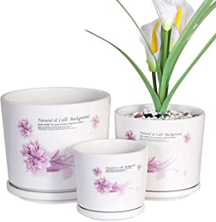 Yinger-WG Set of 3 Ceramic Plant Pot - Flower Plant Pots Indoor with Saucers,Small to Medium Sized Round Modern Ceramic Garden Flower Pots, White