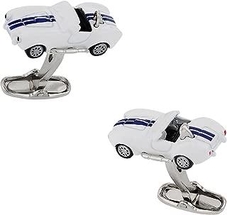 White Cobra Hot Rod Race Car Racing Automotive Cufflinks with Presentation Box