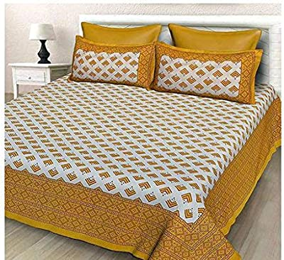 Abheer Hub 100 % Cotton Jaipuri Double Bedsheet Queen Size with 2 Pillow Cover Set (90 x 100-inch)(AF_17)
