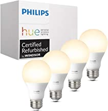 Philips Hue White A19 4-Pack 60W Equivalent Dimmable LED Smart Bulb (Compatible with Amazon Alexa Apple HomeKit and Google...