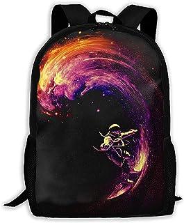 LIMING Unisex Adult Backpack Space Surfing (2) Bookbag Travel Bag Schoolbags Laptop Bag For Men And Women