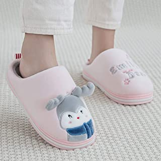 Winter Home Warm Cartoon Plush Cotton Slippers-Comfortable Indoor Thick Bottom Non-Slip TPR Couple Men's Home,Pink,40