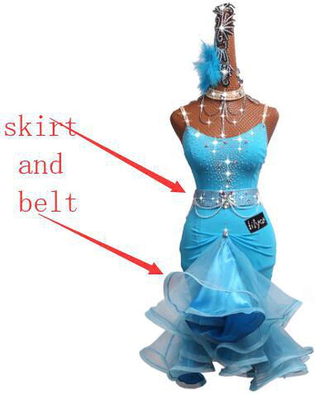 Fepsan Rhinestone Latin Dance Dress for Women bluee Latin Dance Competition Dresses Female Dance Sexy Sling Fishbone Skirt