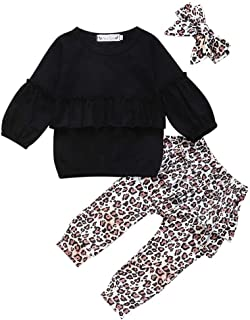0-3Years Old Baby Girl Clothes Sets Newborn Ruffles Long Sleeve Sweatshirt + Leopard Print Pants + Headband 3PCS Outfits