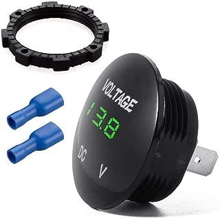 Waterproof Voltmeter, Mini Digital Display Voltage Meter DC 12V-24V Green LED Tester for Car Motorcycle Auto Truck Campervan
