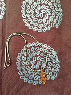 gold finish boho Ethiopian cross necklace 20 inch turquoise beads