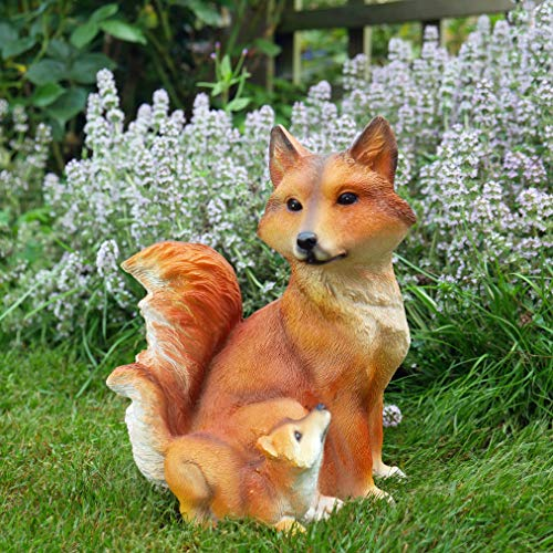 Ablerhome Decoration Small Urban Fox with Cub Sculpture Resin Vixen Ornament Home Garden Decor Lawn Statue Outdoor Indoor Gift NEW