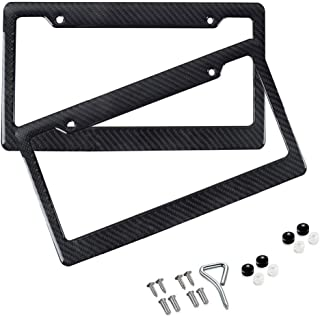 BLVD-LPF OBEY YOUR LUXURY Black Plastic Gloss Real Carbon Fiber for Auto Vehicle Truck Van License Plate Frames Wide Style [Pack 2 pcs]