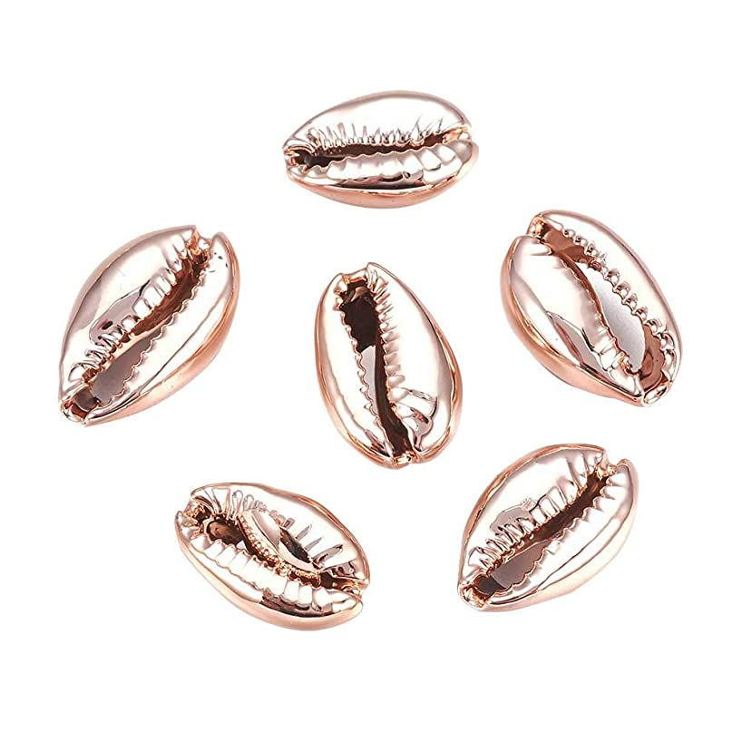 PandaHall About 50pcs Rose Gold Electroplated Shell Beads Cowrie Shells for Craft Making, Home Decoration, Beach Party