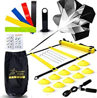 Big B Pro Sports Speed Agility Training Set - Includes Ladder, 10 Cones with Holder, Running Parachute, Jump Rope, Resistance Bands - for Training Football, Soccer, and Basketball Athletes