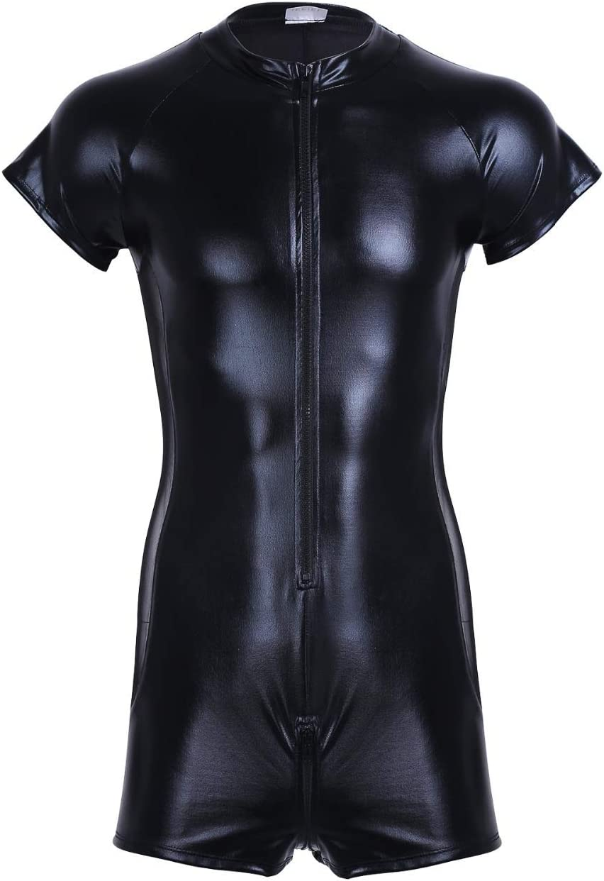 JIEITAO Max 61% OFF Mens Patent Leather Leotard Front Zipper supreme O Sleeves Short
