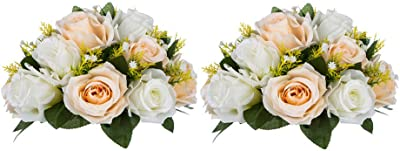 Sfeexun - Ramo de bolas de flores artificiales, 15 rosas de plástico con base, adecuado para centros de mesa de bodas de nuestra tienda, para fiestas, día de San Valentín, decoración del hogar, Champagne & White