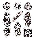 Hashcart Baren - Lote de 10 sellos de madera tallados, ideales para diseñar bordes de sari, impresiones con henna, en textiles, en álbumes de recortes, manualidades con cerámicas, papel de pared, etc.