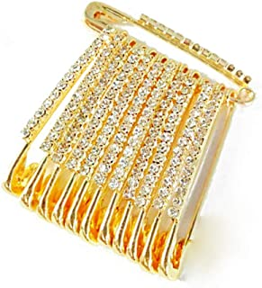 Golden Colour Diamonds Designer Safety pin Saree pin one Side of Safety pin - 12 Pack
