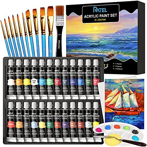 Juego de pinturas acrílicas RATEL, [24 * 22ml]2 lienzos+10 pinceles+#2 pinceles+paleta+espátula + esponja,perfecto para lienzo,madera,tela,pinturas acrílicas no tóxicas para principiantes,artistas