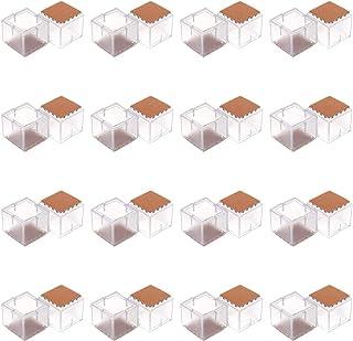 PENCK Flexible Chair Leg Floor Protectors for Hardwood Floors - Square PVC Chair Legs Caps Furniture Cups with Felt Pads, ...