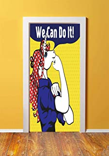 Unicorn 3D Door Sticker Wall Decals Mural Wallpaper,Feminist Unicorn with Famous Gesture on Polka Dots Setting Strength Humor Image Artwork,DIY Art Home Decor Poster Decoration 30.3x78.4349,Multi