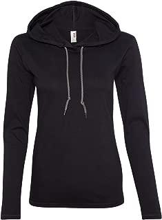 Ladies 100% Ring Spun Cotton Long Sleeve Hooded T-Shirt. 887L