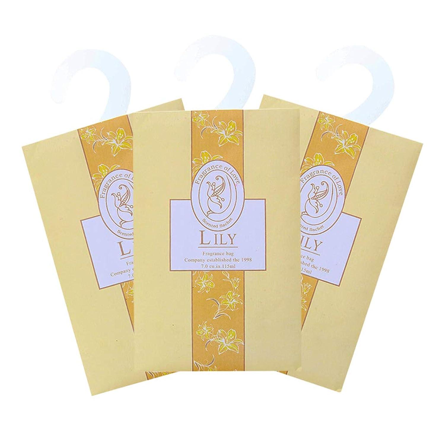 ハッチメイエラストライプTINKSKY 香り袋 サシェ 3枚セット 花の香り ルームフレグランス 車内用 玄関用 部屋用 芳香剤(ゆり)