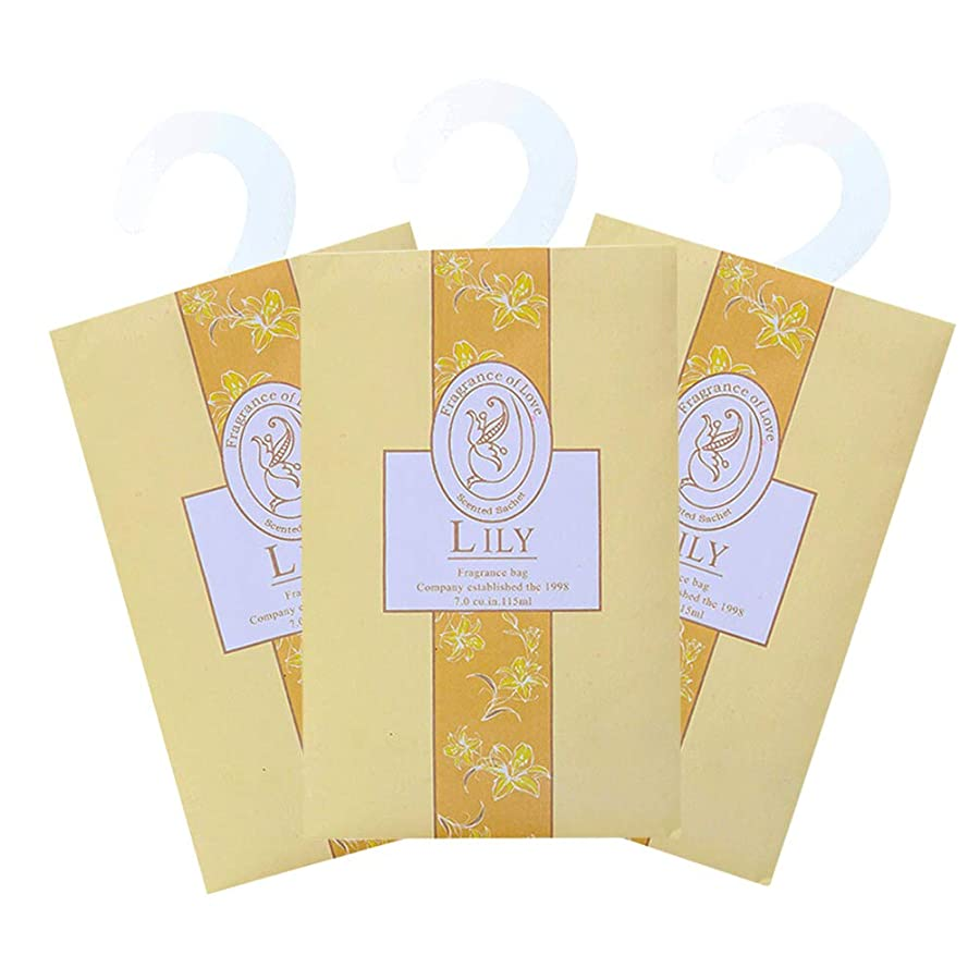 緑佐賀スキャンダルTINKSKY 香り袋 サシェ 3枚セット 花の香り ルームフレグランス 車内用 玄関用 部屋用 芳香剤(ゆり)