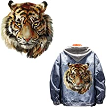Tiger Head Heat Transfer Iron on Stickers for T-Shirt Jeans Pillow Clothes DIY Decoration A-Level Washable Patches with Waterproof Environmental Protection Decoration Applique