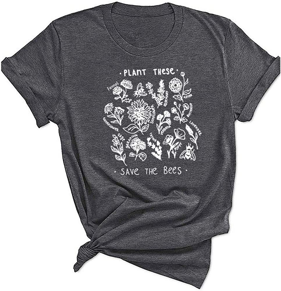 Qrupoad Womens Plant These Save The Bees Funny Garden T-Shirt Summer Causal Graphic Tees Shirts