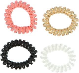 Violet & Virtue Women's Spiral Phone Cord Plastic Bobble Hair Ties (4Pcs) (White, Pink, Black, Tan)