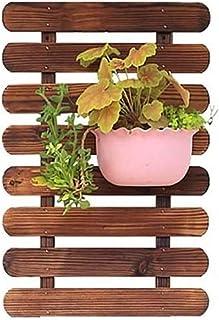 رفوف النبات البني رف زهرة على الجدار معلقة زهرة حامل معلقة شرفة خشبية داخلية رف النبات الديكور الخارجي (35x35 سم)