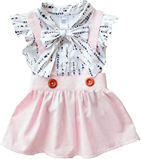 Baby Girl Skirt Outfit Toddler Infant Girls Feather T Shirts +Pink Suspender Dress Clothing Set