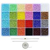 Bala&Fillic Cuentas de tamaño 11/0 de aproximadamente 15600 unidades en caja, 24 cuentas de colores surtidos para hacer pulseras (650 unidades por color, 24 colores).