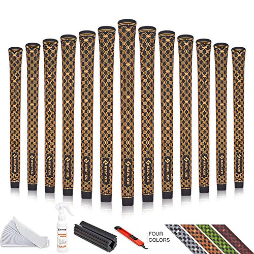 SAPLIZE Rubber Golf Grips Set of 13 MidSize with Complete Regripping Kit(15 Tapes, Solvent, Hook Blade, Vise Clamp) Orange