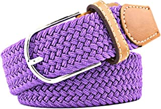 WZXSMDY Men's and Women's Canvas Woven Elastic pin Buckle Belt Personality Fashion Student Belt Belt (Color : Purple, Size : 105cm)