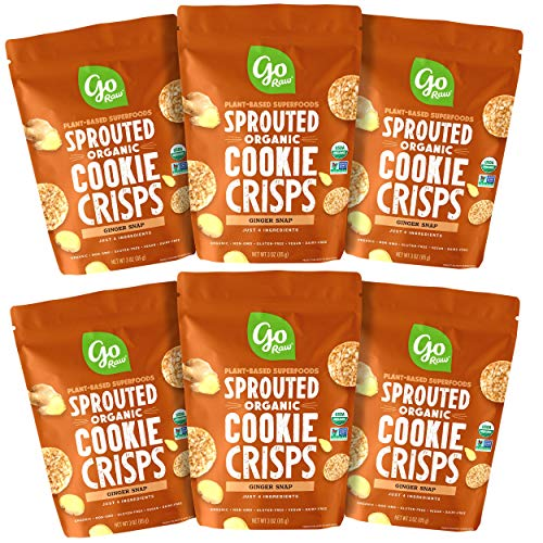 Go Raw Snacks, Sprouted Superfood Cookie Crisps, Ginger Snap (pack of 6 x 3oz bags) — Gluten Free   Vegan   Natural   Organic (00040122_ob)